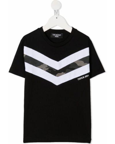 Хлопковая черная футболка с короткими рукавами с круглым вырезом Neil Barrett Kids