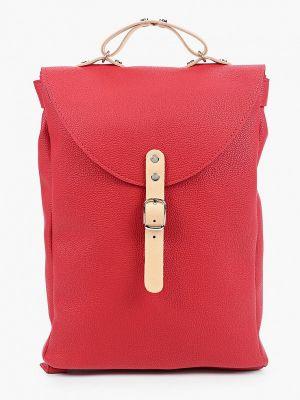 Красный кожаный городской рюкзак Kokosina