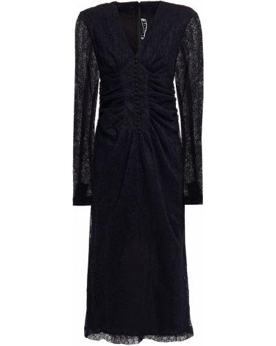 Czarna sukienka midi koronkowa zapinane na guziki Rotate Birger Christensen