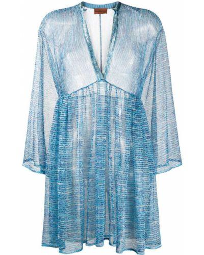 Синее прямое платье мини с вышивкой с V-образным вырезом Missoni Mare
