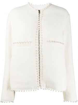 Белая куртка с жемчугом на молнии круглая Giambattista Valli