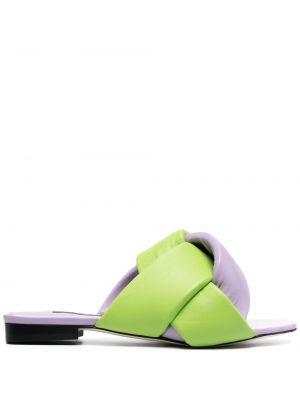Фиолетовые открытые кожаные сандалии Msgm