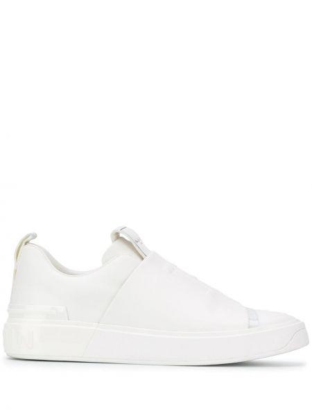 Z paskiem skórzany biały skórzane sneakersy okrągły nos Balmain