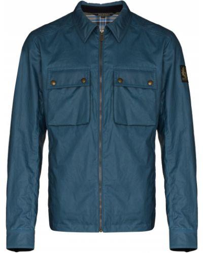 Ватная синяя длинная куртка с воротником Belstaff