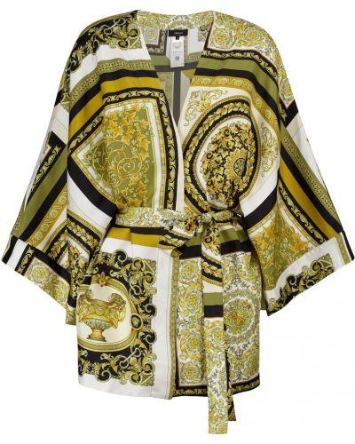 Żółty satynowy szlafrok Versace