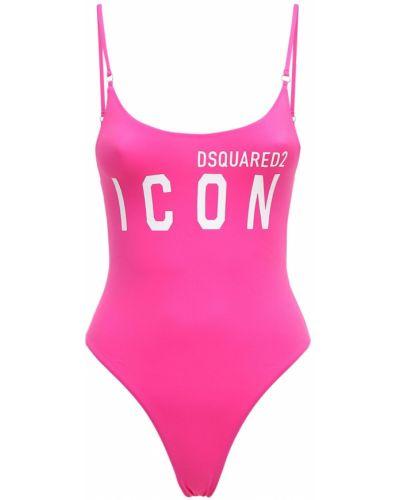 Слитный купальник с принтом - розовый Dsquared2