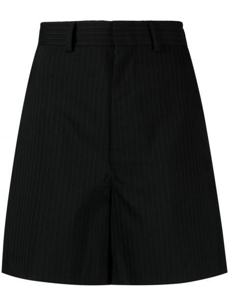 Шерстяные черные с завышенной талией шорты Junya Watanabe