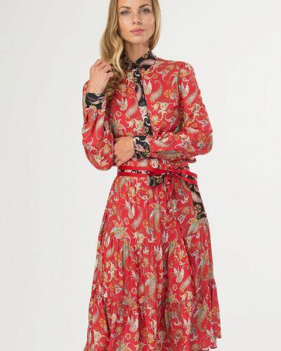 Платье платье-рубашка красный ярославна