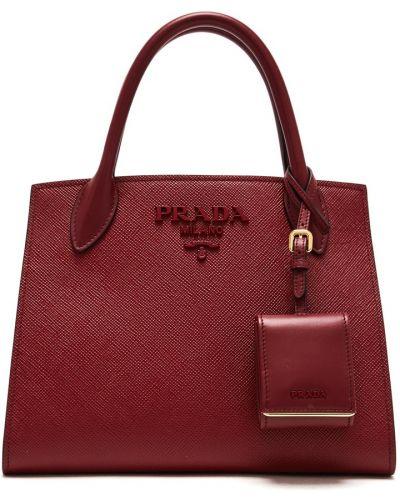 С ремешком кожаная красная сумка на руку Prada