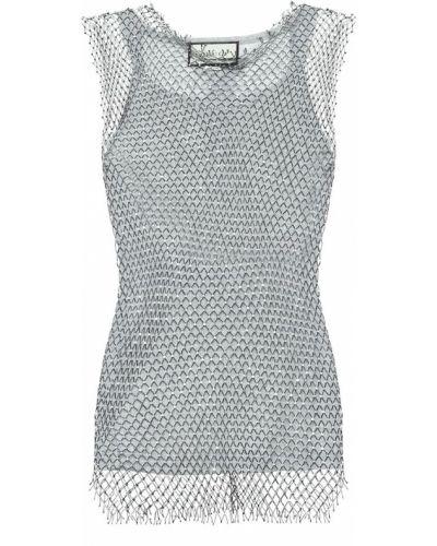 Bawełna klasyczny srebro top siatkowaty Gucci