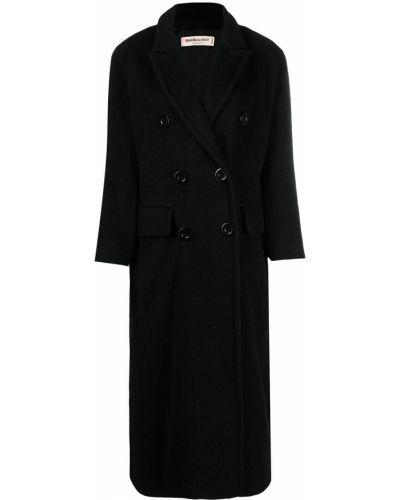 Шерстяной черный бушлат двубортный Yves Saint Laurent Pre-owned
