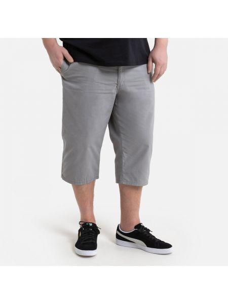 Хлопковые серые брюки с поясом La Redoute