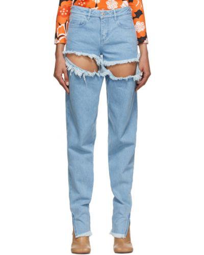 Серебряные джинсы с манжетами стрейч с опушкой Marques Almeida