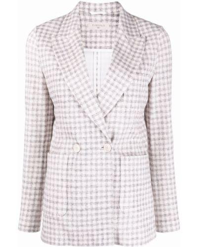 Белый классический пиджак двубортный с карманами Circolo 1901