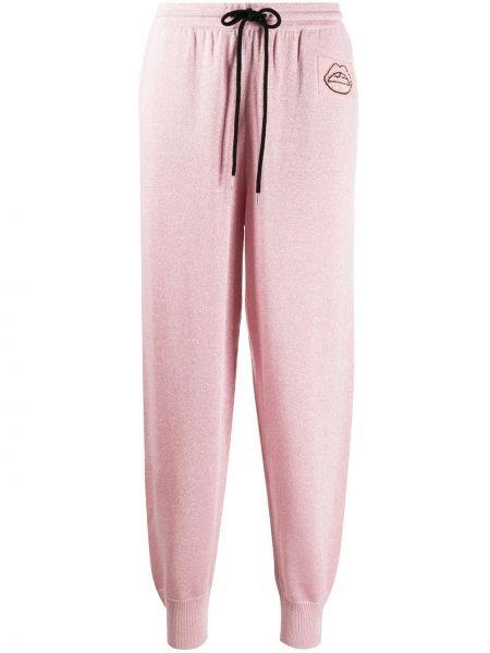 Розовые шерстяные джоггеры с карманами на шнурках Markus Lupfer