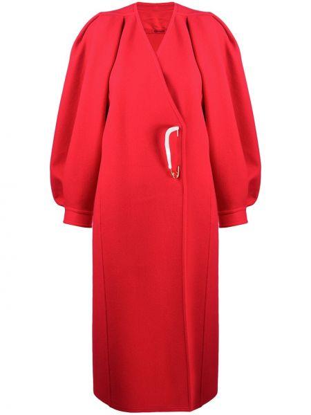 Красное шерстяное пальто на пуговицах Givenchy