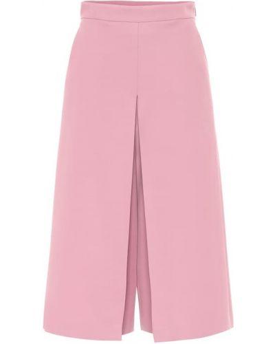 Różowy bezpłatne cięcie wełniany szerokie spodnie bezpłatne cięcie Gucci