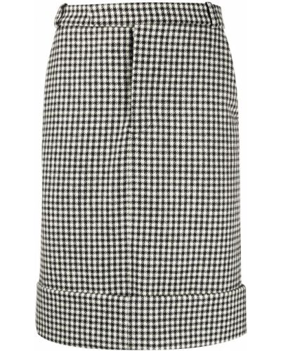 Шерстяная черная юбка со шлицей на крючках Thom Browne