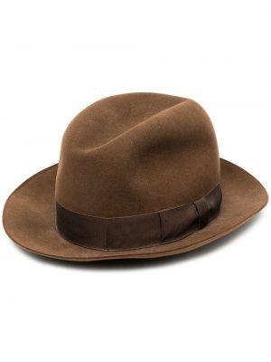 Коричневые шерстяные шляпа-федора узкого кроя Hermès