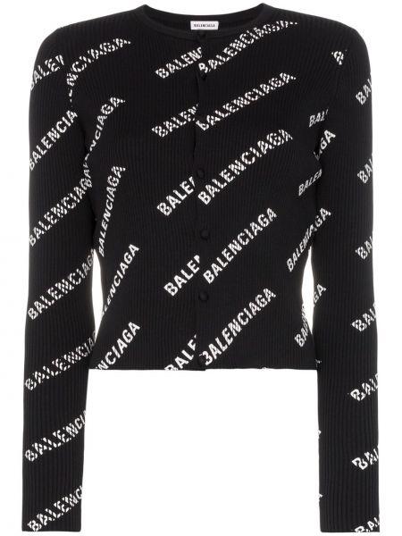 Trykotowy kardigan z nadrukiem czarny Balenciaga