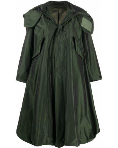 Шелковый зеленый длинный плащ с воротником Comme Des Garçons Noir Kei Ninomiya