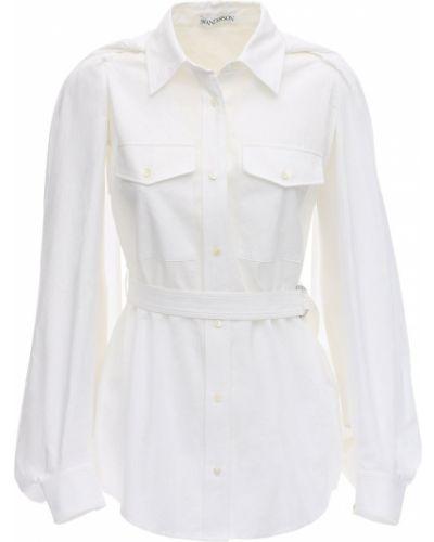 Biała klasyczna koszula bawełniana z paskiem Jw Anderson