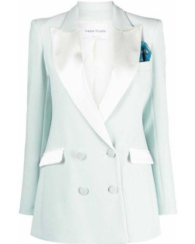 Шелковый классический пиджак двубортный с карманами Hebe Studio