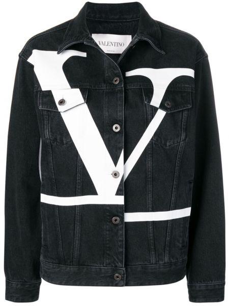 Джинсовая куртка черная на пуговицах Valentino