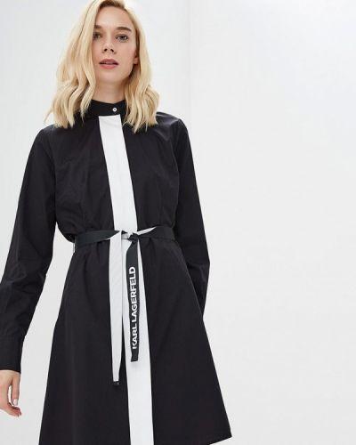 Черное платье с длинными рукавами Karl Lagerfeld