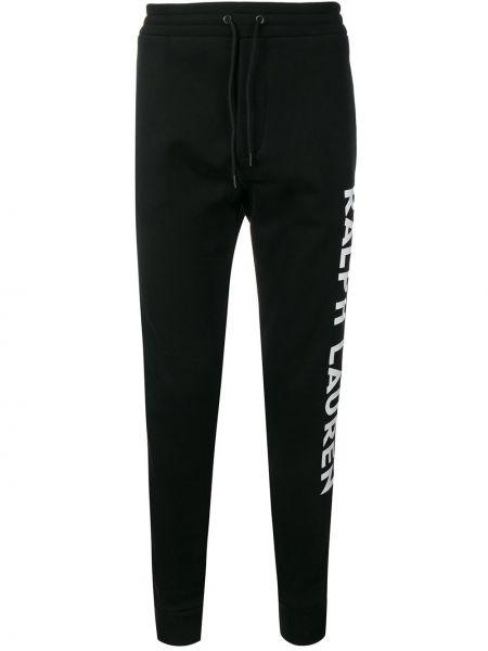 Хлопковые черные спортивные брюки с манжетами Ralph Lauren Purple Label