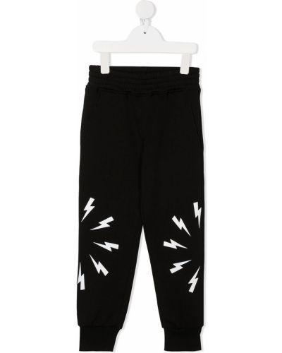 Хлопковые черные спортивные брюки с поясом Neil Barrett Kids