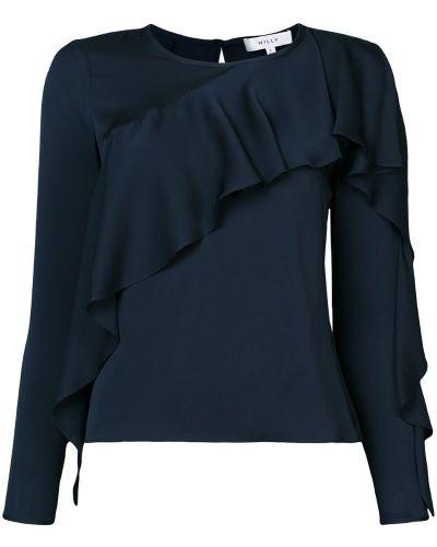 Блузка с длинным рукавом с рюшами с вырезом Milly