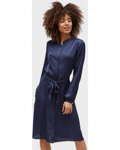 Синее платье с длинными рукавами Tom Tailor