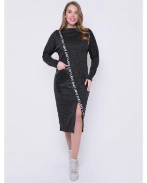 Кожаное платье оверсайз с надписью с карманами Diolche
