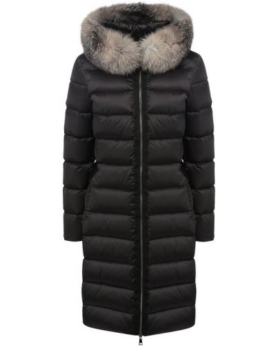 Куртка с капюшоном с поясом с перьями Moncler