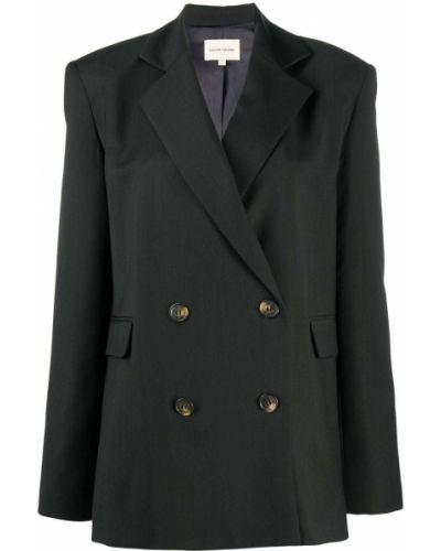 Черный удлиненный пиджак двубортный для полных Loulou