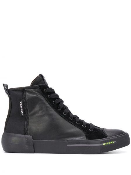 Черный топ на шнурках из натуральной кожи на каблуке Diesel