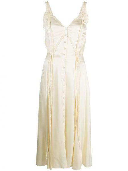 Шелковое тонкое платье на пуговицах на бретелях Temperley London