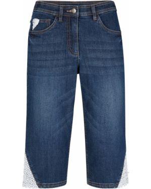 Ажурные черные джинсовые шорты со стразами Bonprix