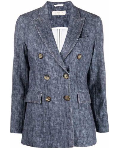 Синий удлиненный пиджак двубортный с карманами Circolo 1901