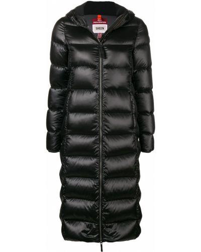 Черное пуховое пальто с капюшоном Parajumpers