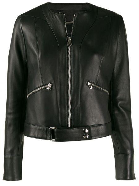 Черная кожаная куртка байкерская на молнии круглая Philipp Plein