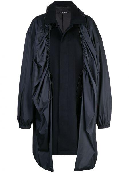 Черное пальто классическое с капюшоном с воротником Y/project