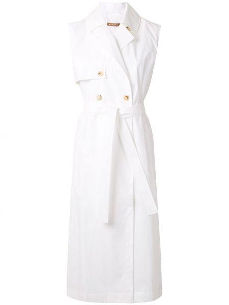 Белый длинное пальто без рукавов с лацканами Nehera
