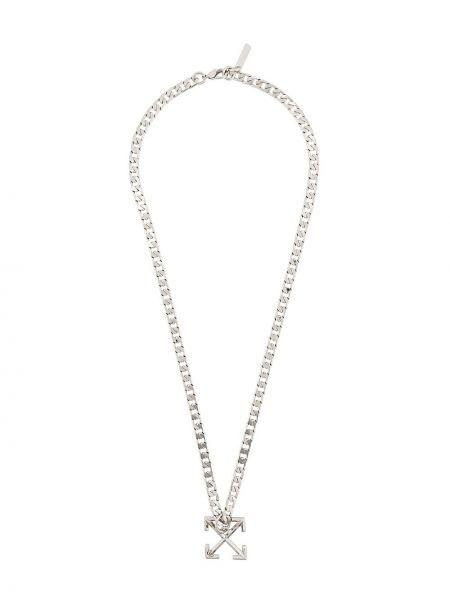 Biały naszyjnik srebrny Off-white