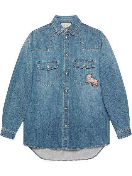 Klasyczny bawełna koszula klasyczna z mankietami z kieszeniami Gucci