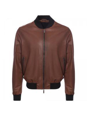 Коричневая текстильная кожаная куртка Moreschi