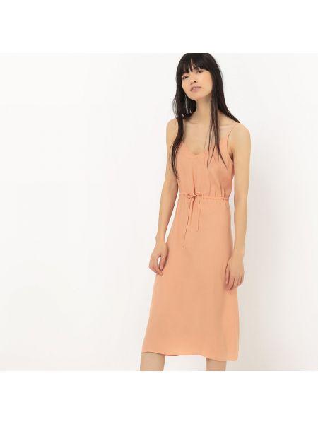Платье миди с V-образным вырезом на бретелях La Redoute Collections