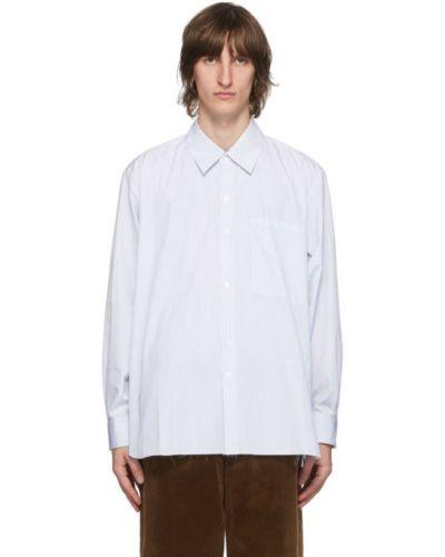 Синяя рубашка с воротником с вышивкой с манжетами Camiel Fortgens