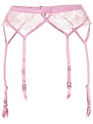 Розовые шелковые чулки с поясом Fleur Du Mal